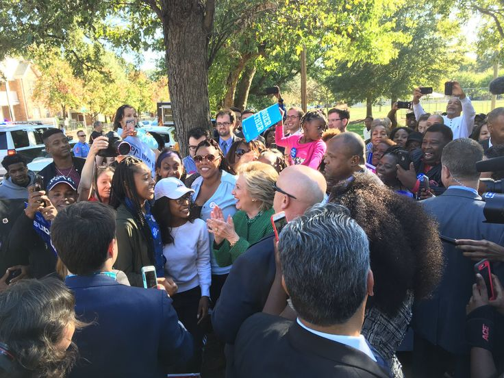 """Hillary Clinton campaigned at an early voting location on Sunday in Raleigh, North Carolina, in a potential violation of electioneering laws. Clinton was """"mobbed"""" at the early voting location at Chavis Community Center, Reuters reporter Luciana Lopez tweeted today. .@HillaryClinton getting mobbed at early voting at Chavis Community Center in Raleigh. pic.twitter.com/PgCLKVMhyk — Luciana Lopez …"""