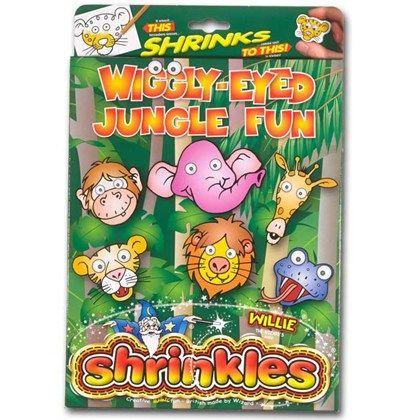 Krympplast presentset Wiggly-Eyed Jungle Fun innehåller massor med förstämplade jungelmotiv, 12 färgpennor och mängder av accessoarer så som nyckelringar, pennvässare, kulkedjor, ringar och broscher.