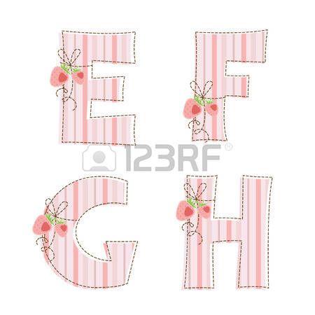 Strisce di tessuto patchwork alfabeto lettere E, F, G, H photo