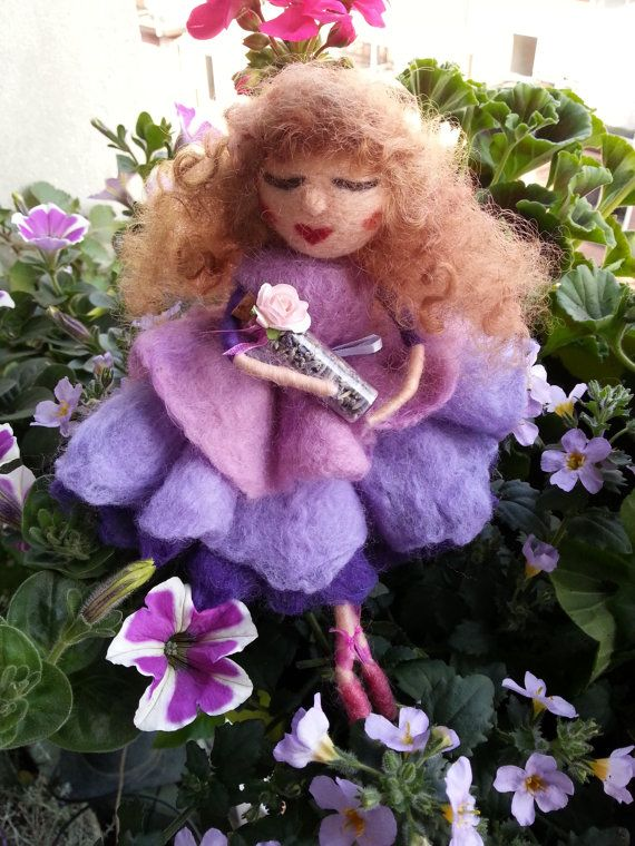 Purple and Lilac Lavender Girl, Needle and Wet felted, Waldorf inspired, EvelinesGarden Art Doll