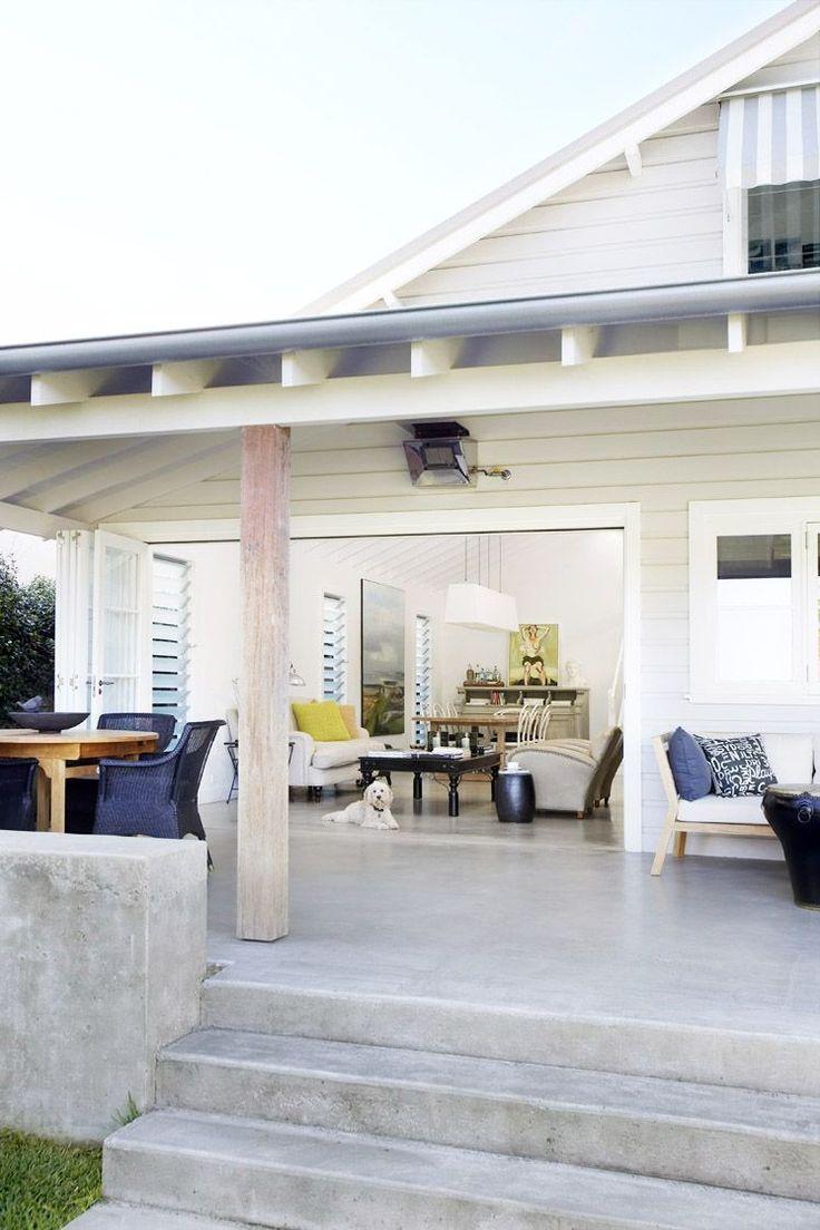 Minimalist, modern coastal porch style.