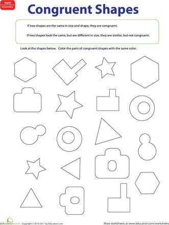 Congruent Figures Worksheet Education Com Math Worksheets Shapes Worksheets Kids Math Worksheets Congruent and similar figures worksheets