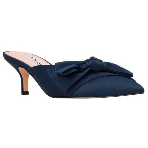 Nina  Timara Slip On Heel ($43) ❤ liked on Polyvore featuring shoes, pumps, new navy, nina footwear, navy blue shoes, slip on shoes, nina shoes and navy blue slip on shoes