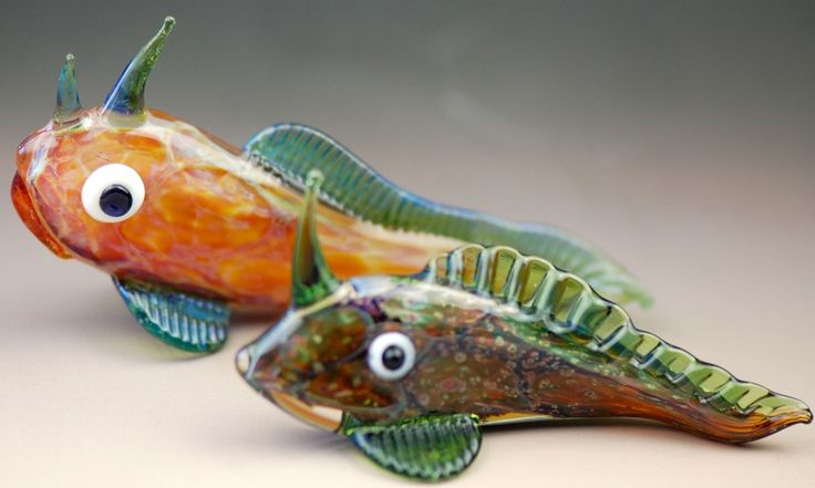 Penel Bigg, Glass artist. Mud Skippers by flame work glass artist Penel Bigg of Fire Bird Beads. Penel creates beautiful glass beads, quirky small sculptures and lots of interesting glass pieces.#glass #art  #artist #natureart #inspiration #homedecor  #handmade #interiordesign  #decoration