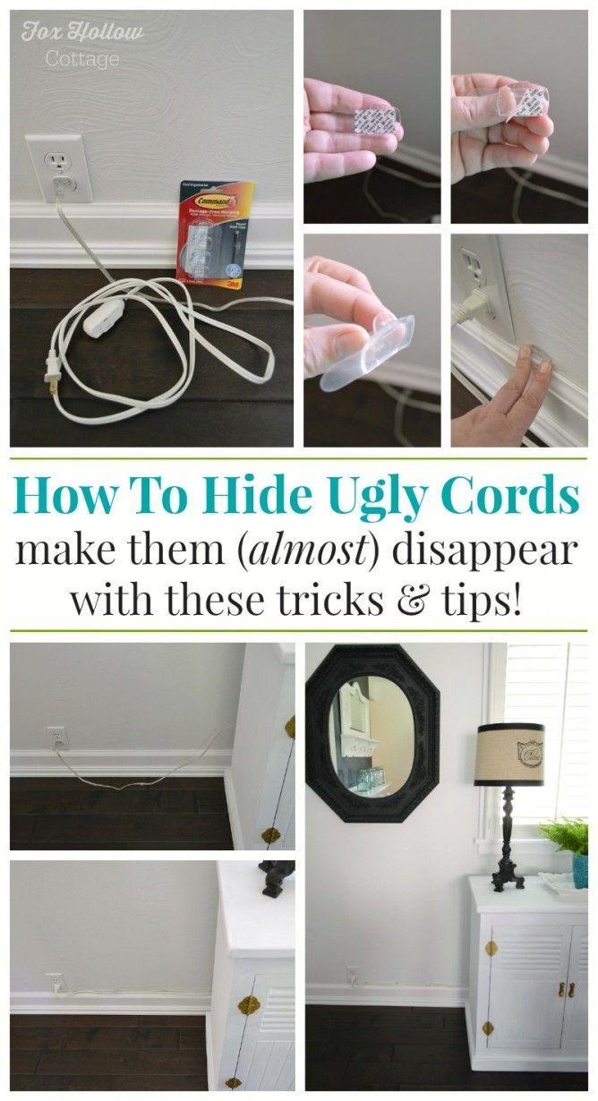 How To Hide Unsightly Lamp Cords and Clear the Clutter. Perfect to-do when Spring Cleaning, or anytime of year if messy light fixture and electronic cords make you eye twitch ;)