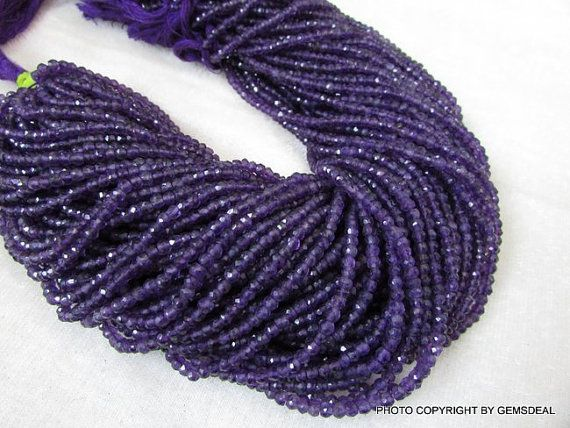 3mm Amethyst Rondelles Beads Faceted Purple Amethyst Beads