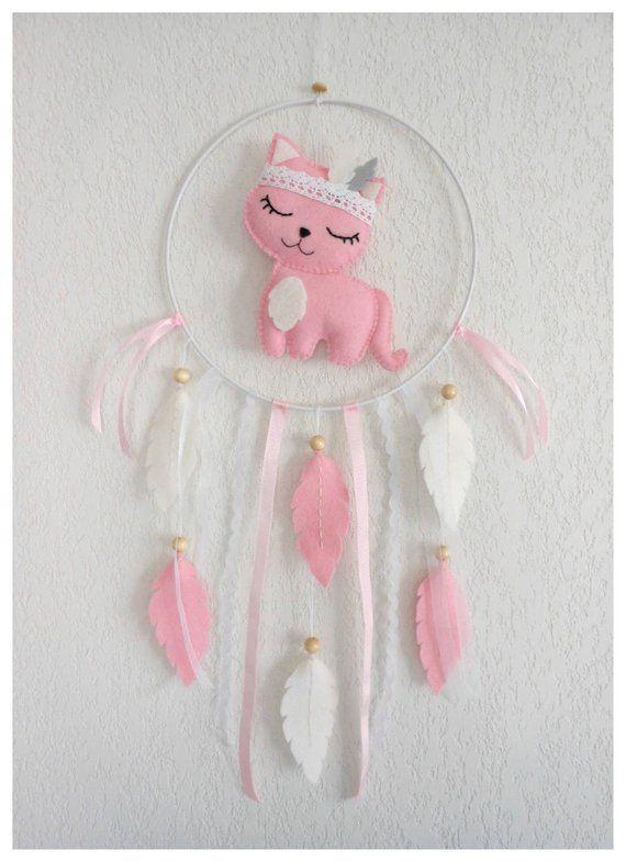 Idee Cadeau Noel Bebe Mobile bébé, Attrape rêves Chat rose feutrine, Idée cadeau Noël