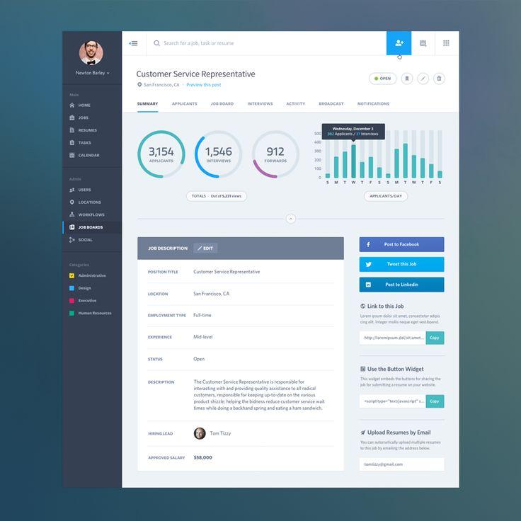 Dashboard Web App Product UI: Job Summary