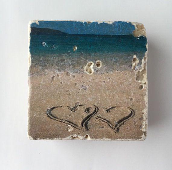 Beach Travertine Coaster Set of 4 - Set of 4 - Full Cork Bottom - Ocean Coasters - Beach Coasters