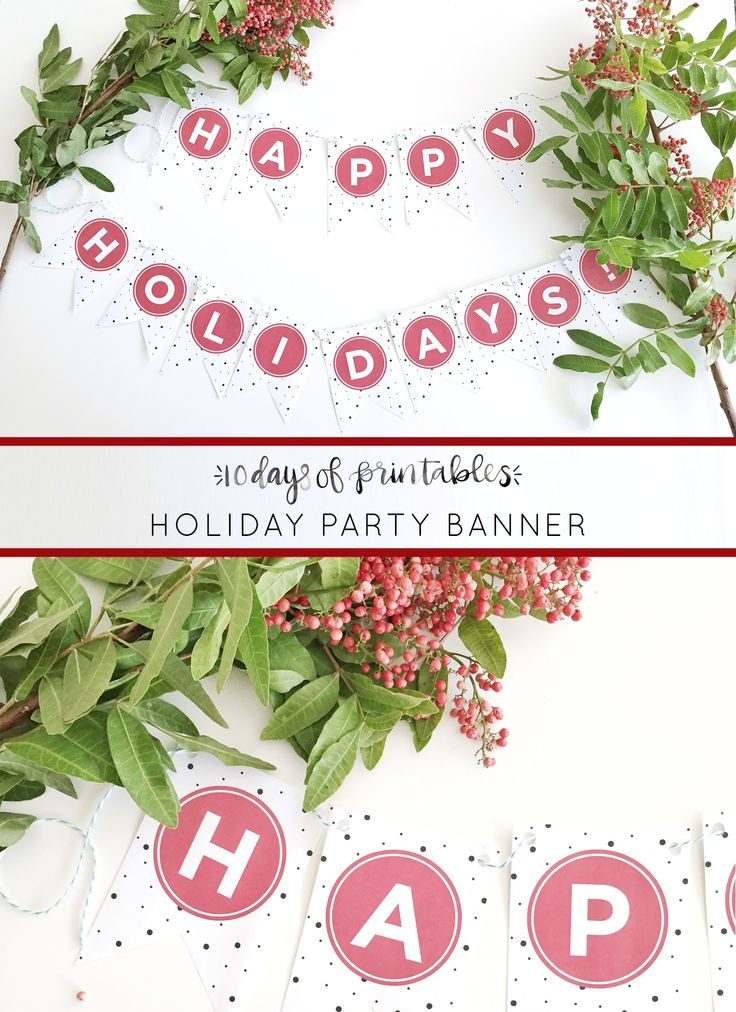 "Make any room more festive with this free downloadable holiday banner from Hey Love Designs. This ""Happy Holidays' banner comes in gold or red, large or small. It's sure to make any winter holiday more festive!"