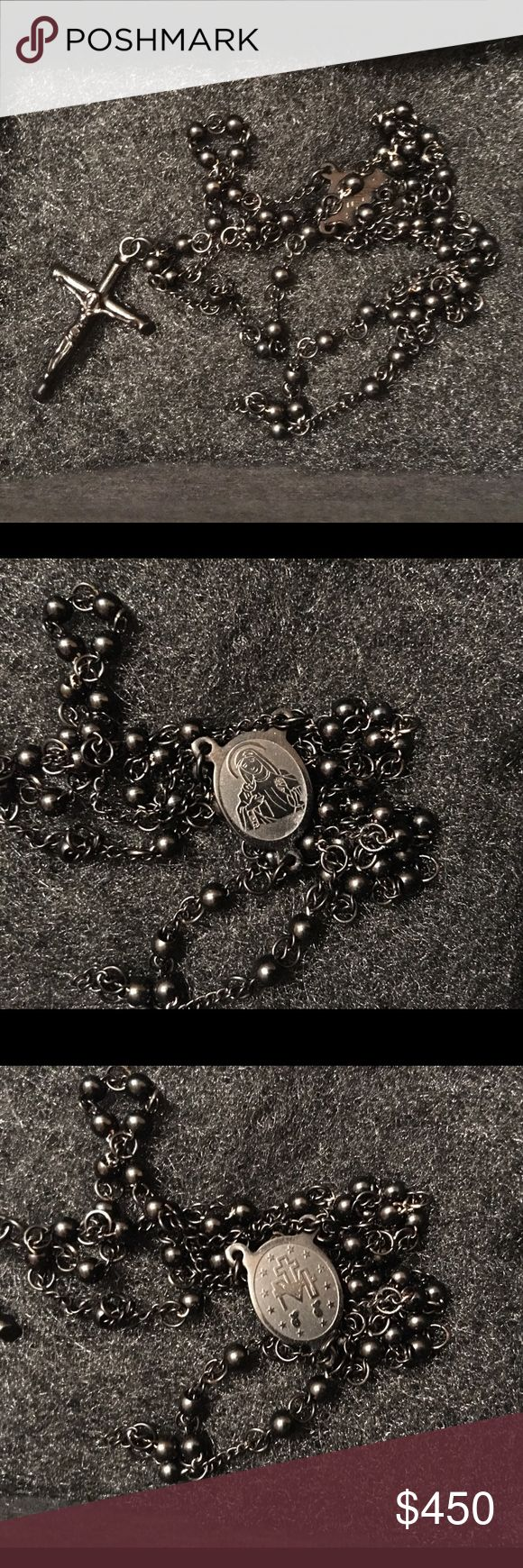 🎉SALE🎉Alexander McQueen Rosary Necklace Blacked out Alexander McQueen men's/women's stainless steel rosary necklace. Brand new in box. Serious inquiries only. Alexander McQueen Accessories Jewelry