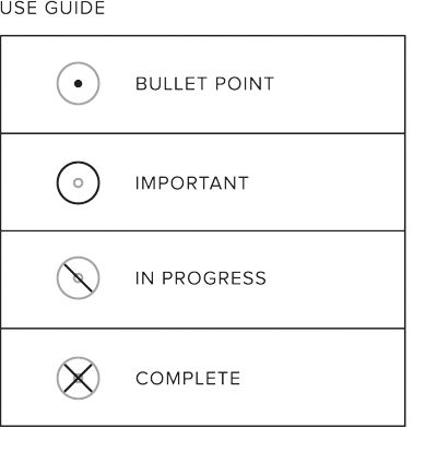 """GTD. The unique bullet point system used in Word. Notebooks lets you organize your tasks efficiently. Simply fill in the bullet point when writing an item on that line. Trace the circle around it when it's important and add a slash when you've started work on it. Once the task is complete, simply mark down an """"X"""" and move on to the next item on your list. It's an easy way to keep track of all your notes."""