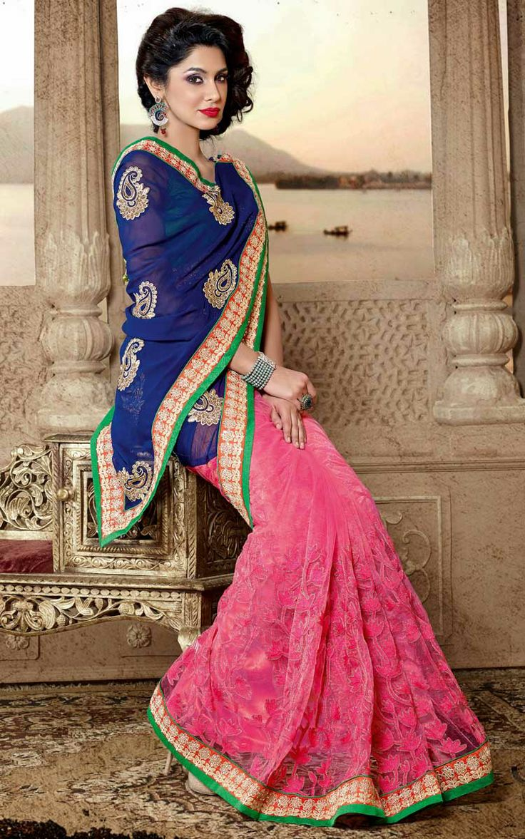 BLUE & PINK FAUX GEORGETTE EMBROIDERED SAREE - DIFF 28337
