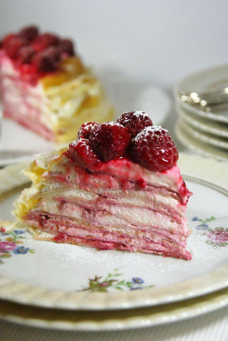 Mes petites fiches cuisine...: Gâteau de crêpes citron framboise façon cheesecake pour la Battle Food #15