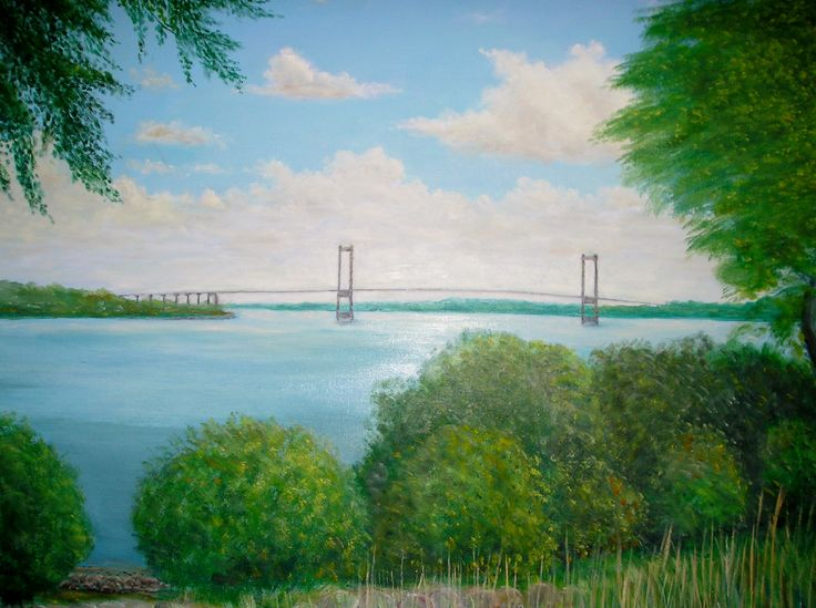 "Painting of ""Lillebæltsbroen"" - the bridge separating the Funen and Jutland in…"