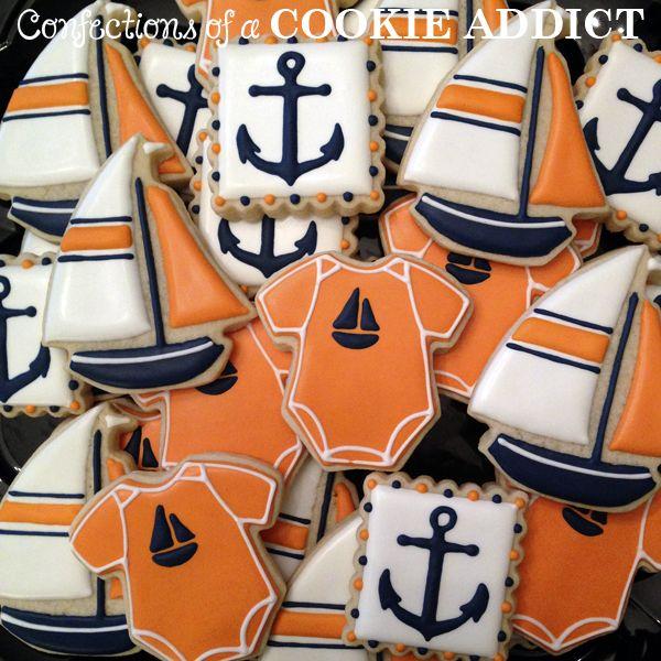 Sailboat Cookies, Anchor Cookies, Nautical Onesie Cookies
