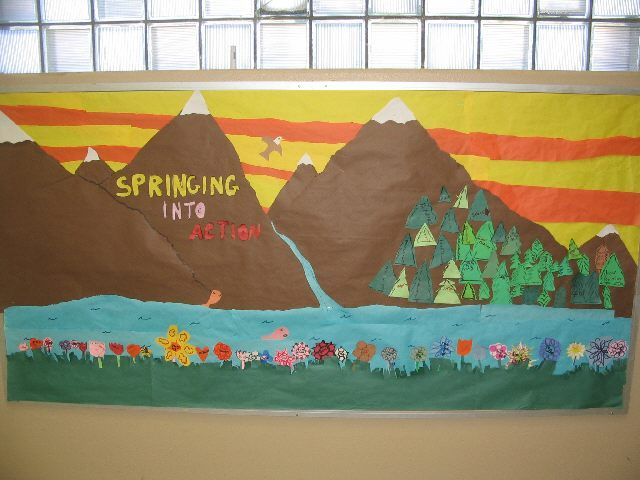 Mountain theme bulletin board for any time of the year. Great idea!