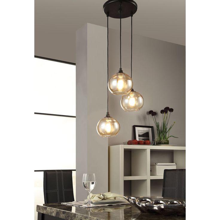 Uptown 3-light Amber Globe Cluster Pendant - Overstock™ Shopping - Great Deals on Chandeliers & Pendants