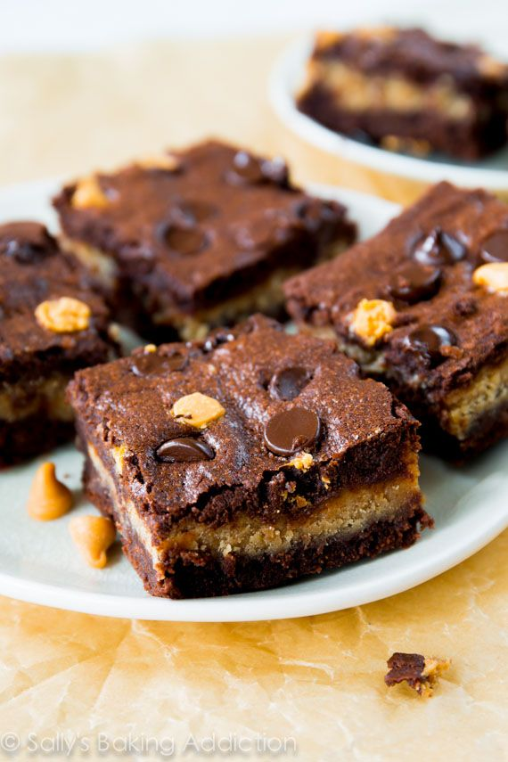 Fudgy homemade brownies stuffed with a creamy peanut butter filling.