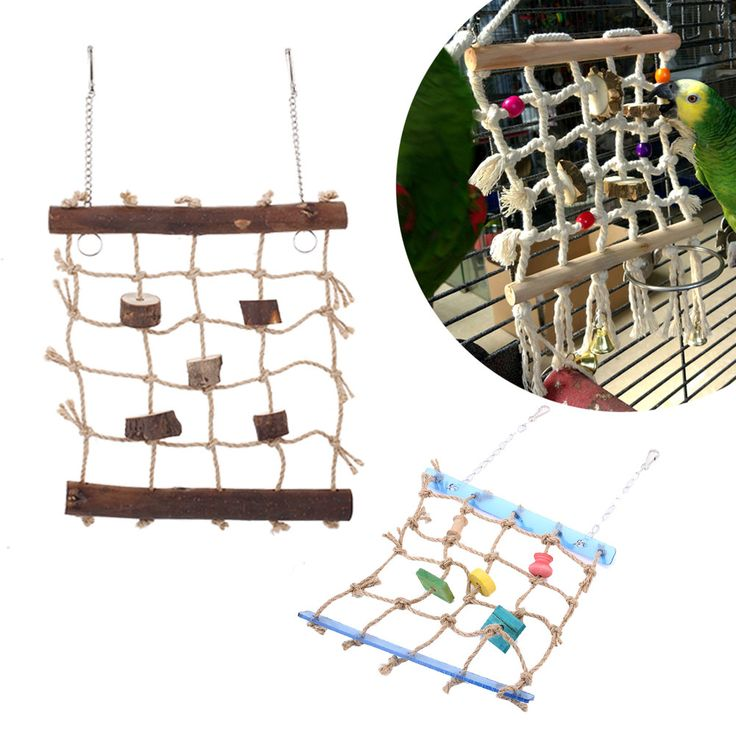 Pet Parrot Birds Ladder Rope Safety Net Cage Swing Play Climbing Train Chew Toy