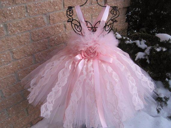 BLUSH PINK LACE.  Tutu Dress.  Birthday  Dress.  by ElsaSieron