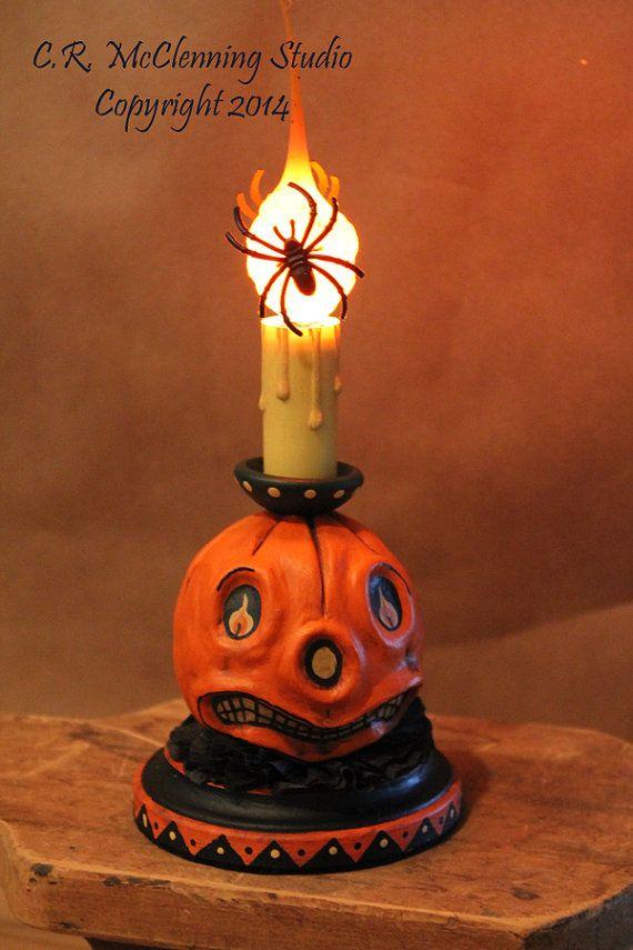 folk art pumpkin head accent light short by thechasmaciancrafter wwwthechasmaciancraftercom pumpkin headhalloween decorationsfolk