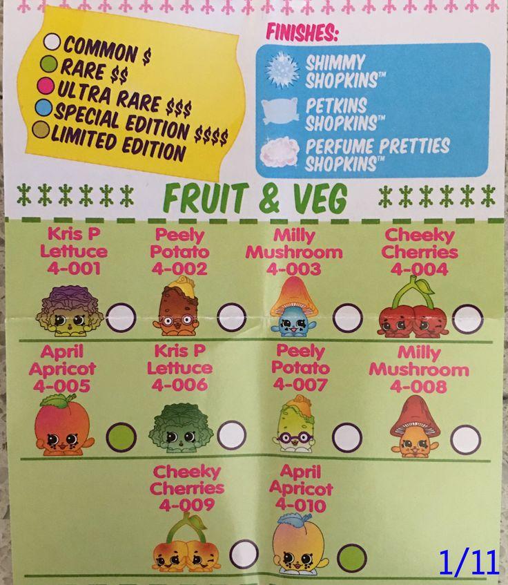 Shopkins checklist printable shopkins season 4 checklist fruit and veg
