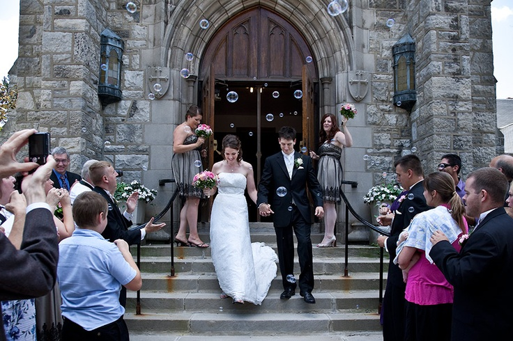 Bride and Groom exit Baker Memorial Church in East Aurora, New York