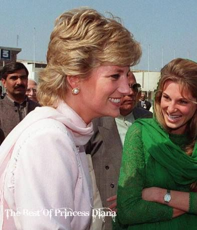 April, 1996:  Princess Diana is welcomed to Lahore Jemima Khan at Lahore airport in Lahore, Pakistan. Jemima - the daughter of multimillionaire British businessman James Goldsmith - and Khan have two sons. Khan led Pakistan to victory in the cricket World Cup in 1992 and later formed his own political party in 1996.
