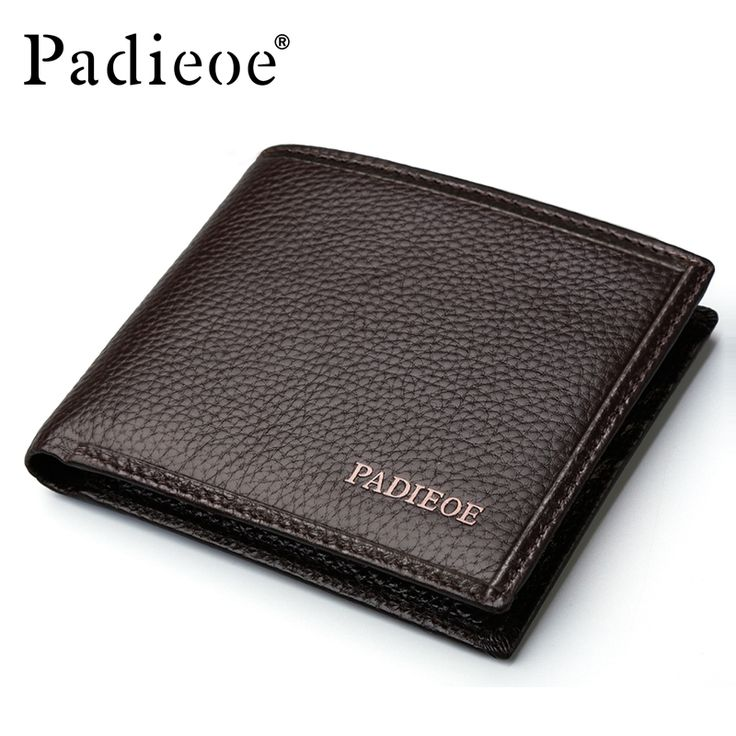 Padieoe Genuine Leather Men Wallets Famous Brand Male Wallet For Business Man Solid Brown Color Short Wallets Men Clutch Wallets. Click visit to buy