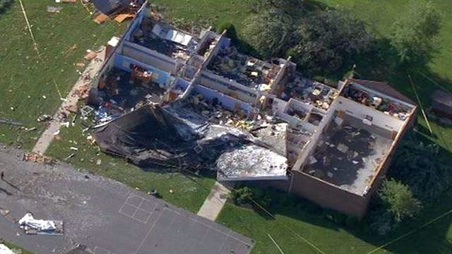 Aerial video: Blue Mountain school damaged by storm