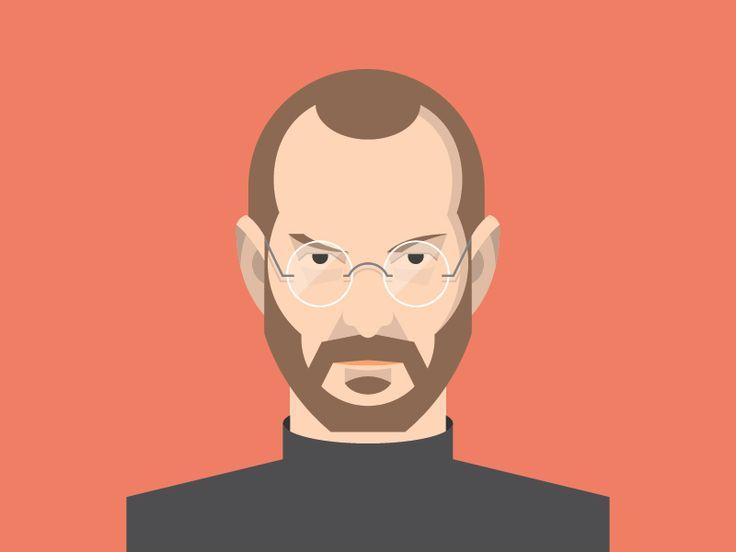 Steve Jobs Flat Avatar / Flat design / Avatar design / Flat face / Flat illustration / by Dan Dragomir / Apple  / Mac / http://dribbble.com/shots/1179084-Steve-Jobs-Flat-Avatar