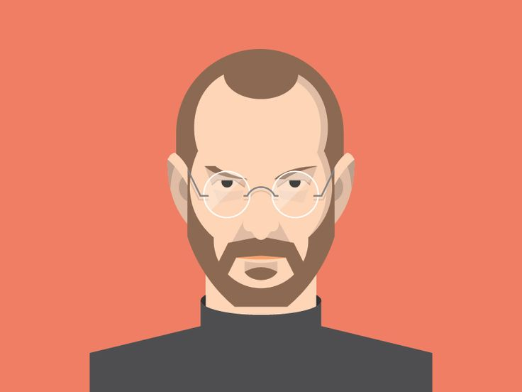 Steve Jobs Flat Avatar / Flat design / Avatar design / Flat face / Flat illustration / by Dan Dragomir / Apple  / Mac / http://dribbble.com/shots/1179084-Steve-Jobs-Flat-Avatar