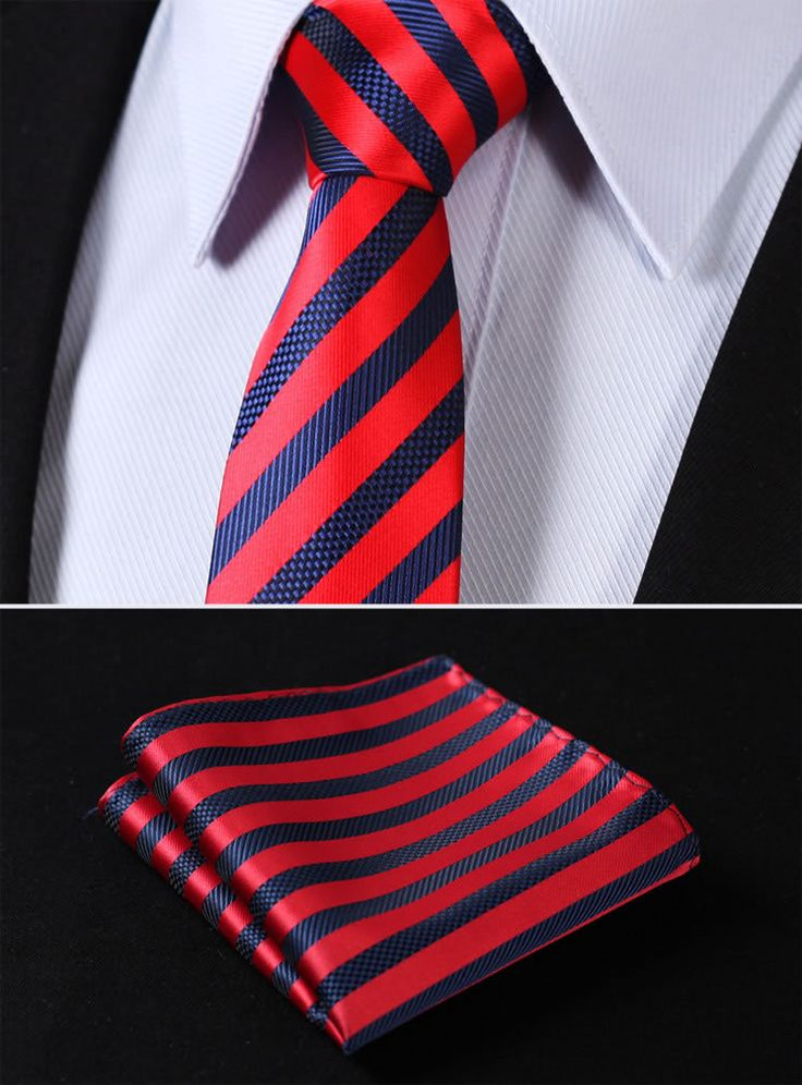 Necktie - Plaid in double blue broken by red & white stripes Notch