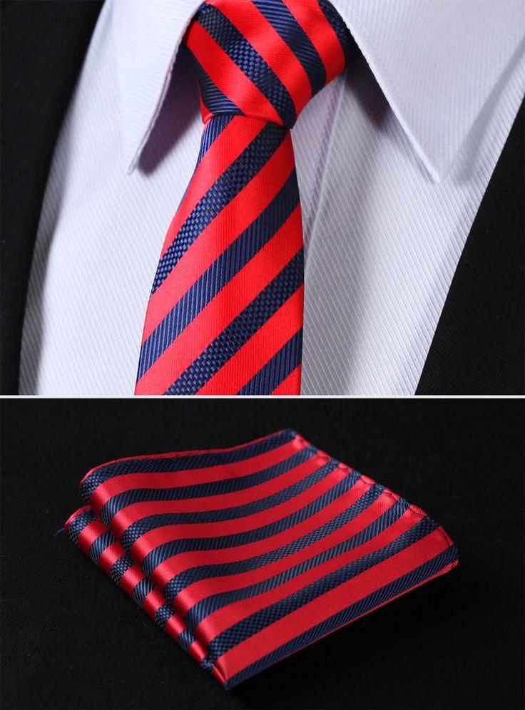 Cravate - Carreaux Dans Le Double Bleu Cassé Par Cran Rayures Rouge Et Blanc 3IFUKul