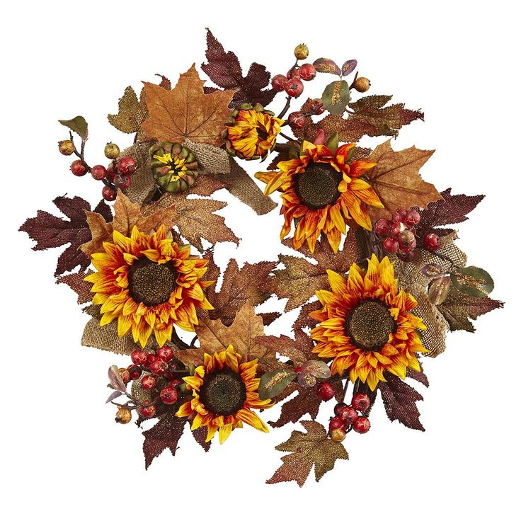 nearly natural Artificial Sunflower Burlap Wreath, Orange