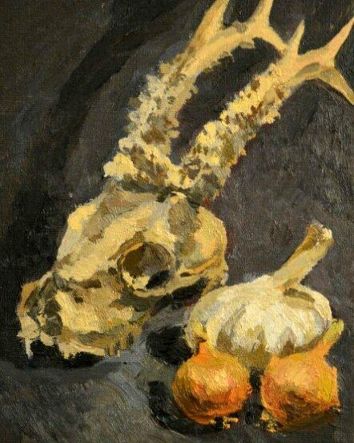Skull still life painting by Victoria Duryagina