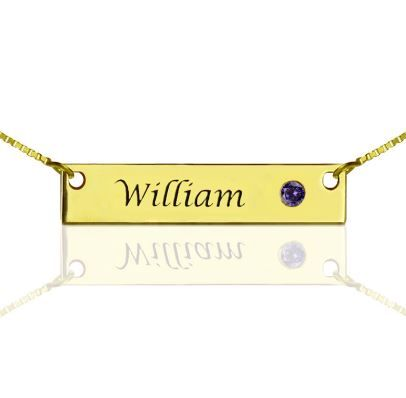 Gold Bar Necklace with Birthstone