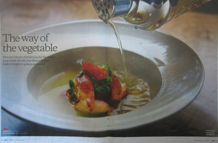 The Observer Magazine 19 August 2014 edition, featuring John Julian Design classical shallow bowl and Chef Bruno Loubet.