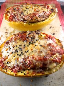 the preppy paleo: Baked Spaghetti Squash Boats with Grilled Chicken