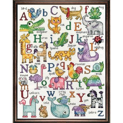 ABC Sampler Counted Cross Stitch. #foxcollection #alphabet #crossstitch #craft View here - http://foxcollection.innovations.com.au/p/needlework/cross-stitch-baby/abc-sampler?Affiliate=FBFC3