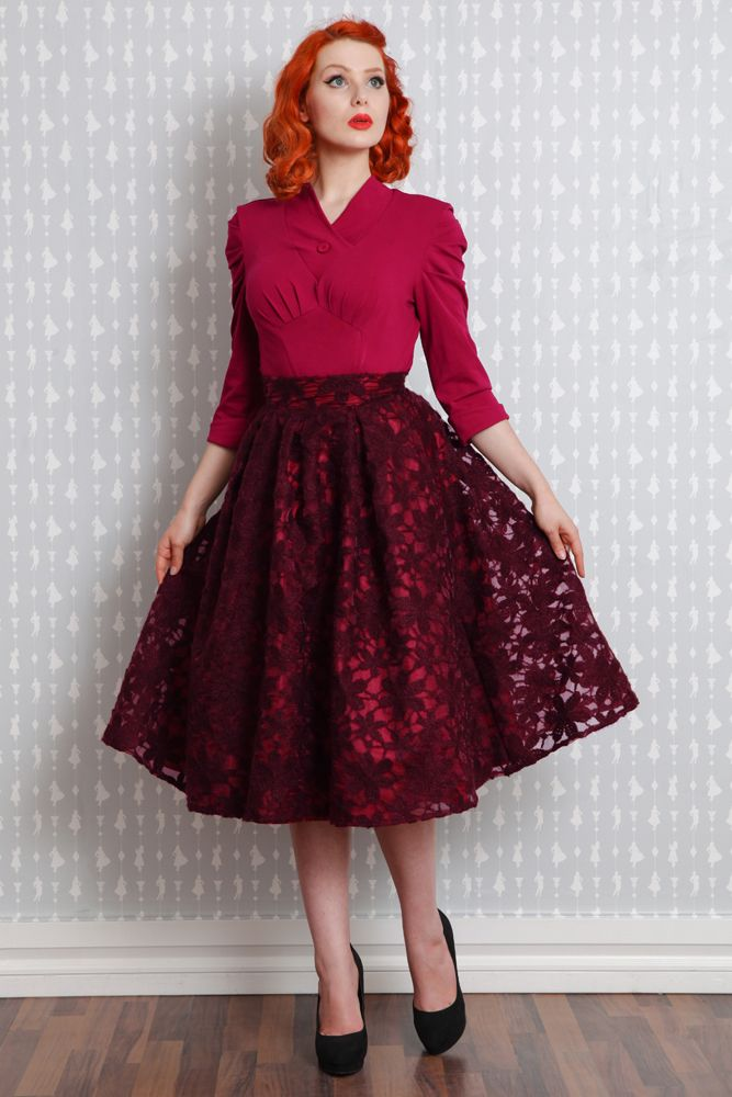 Hera-Wine - Woolen embroidered swing skirt                                                                                                                                                                                 More