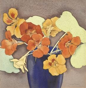 Nasturtiums / Rita Angus / 1939 / watercolor