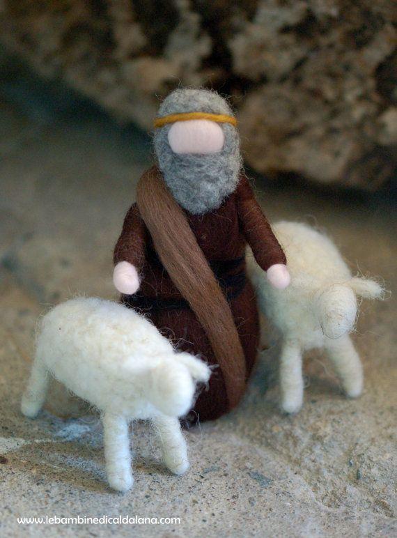 Pastore con due pecore, presepe lana fiaba ispirazione Waldorf