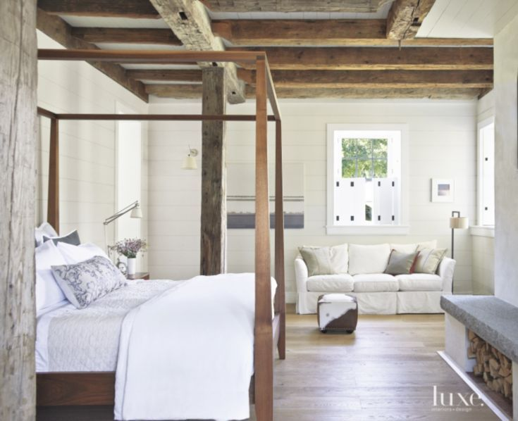 In The Master Bedroom The Barn Structure Stands Out