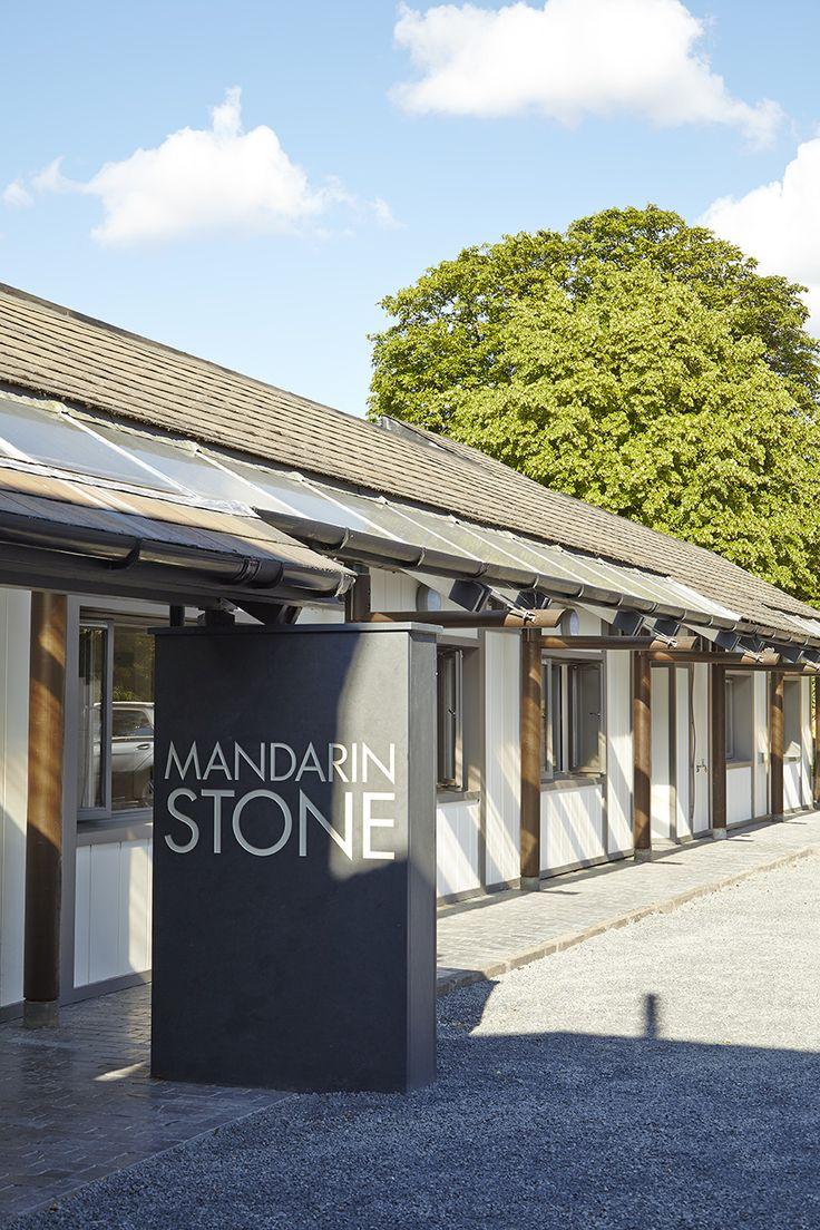 Mandarin Stone signage featuring Ballanstone Tumbled Limestone. Shop this stone http://www.mandarinstone.com/product/_/22/ballanstone-tumbled-outdoor-limestone-tile/
