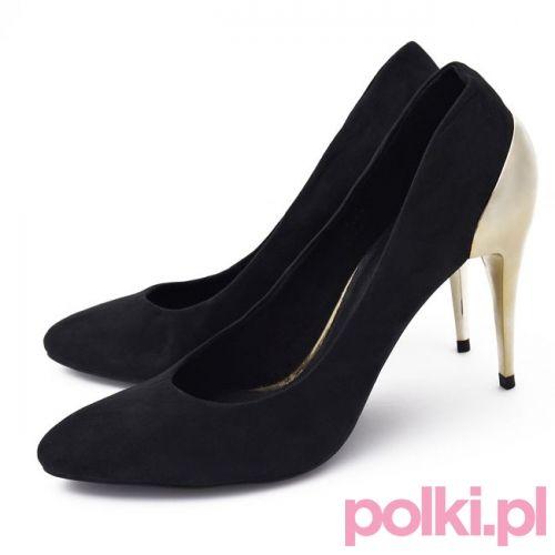 Czarne szpilki z metalicznym obcasem, Reserved #fashion #polkipl #bebeauty #moda #shoes #szpilki