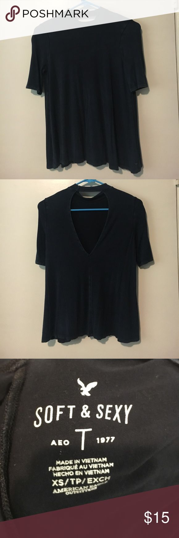 American Eagle Shirt Dark Blue American Eagle shirt with open back; never worn American Eagle Outfitters Tops Blouses