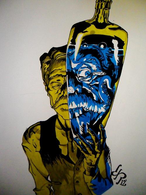 """""""Dr. Jekyll & Mr. Hyde"""" Mural by David Pérez"""