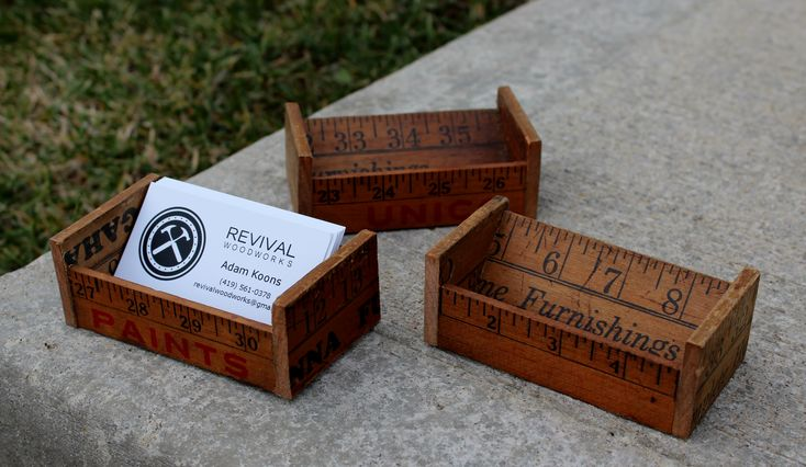 Reclaimed Wooden Business Card Holders - vintage yardsticks